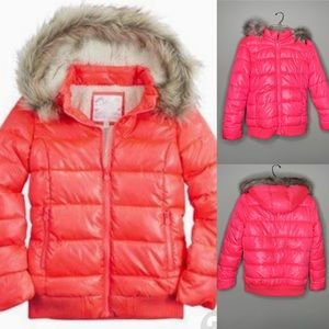 Justice pink coral puffer coat